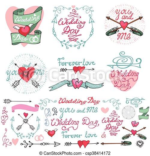 Wedding doodle decor elements setmantic labels wedding wedding doodle decor elements setmantic labels csp38414172 junglespirit Image collections