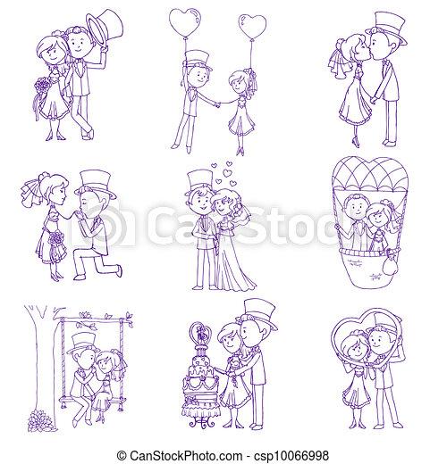 Wedding Doodles - Design Elements - for Scrapbook, Invitation in vector - csp10066998