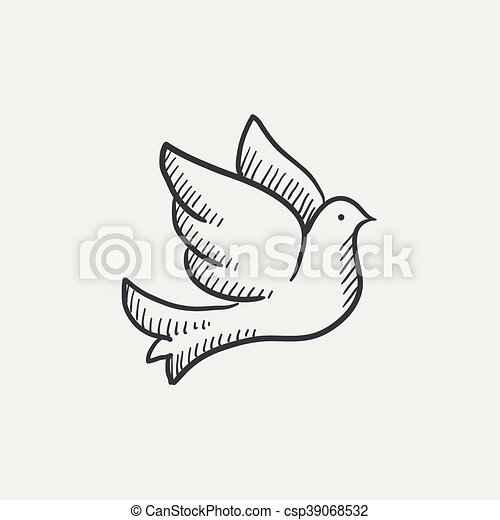 Wedding dove sketch icon