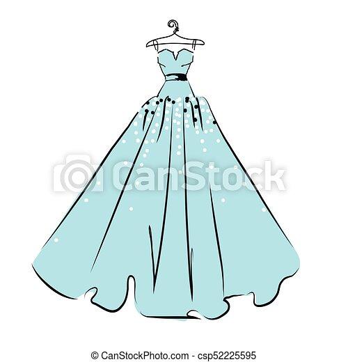 Wedding dress design, black, blue and white.