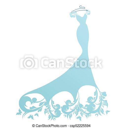 Wedding dress design, blue and white eps vectors - Search Clip Art ...