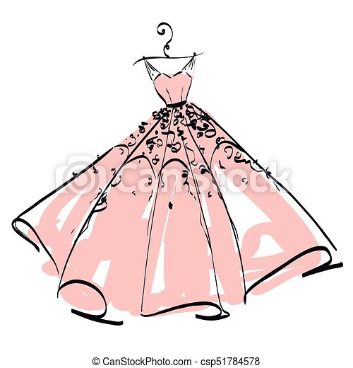 wedding dress design pink and white blue vectors illustration rh canstockphoto com wedding dress clipart black and white wedding dress clip art free