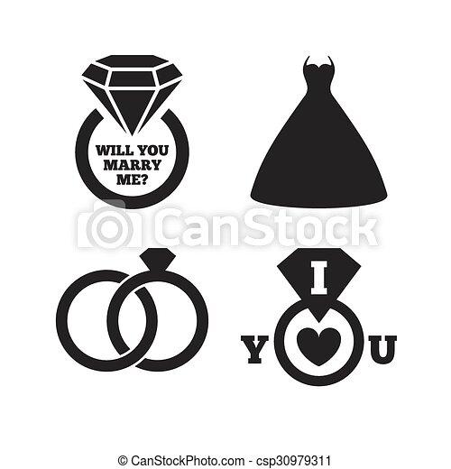 Wedding Dress Icon Bride And Groom Rings Symbol Wedding Or