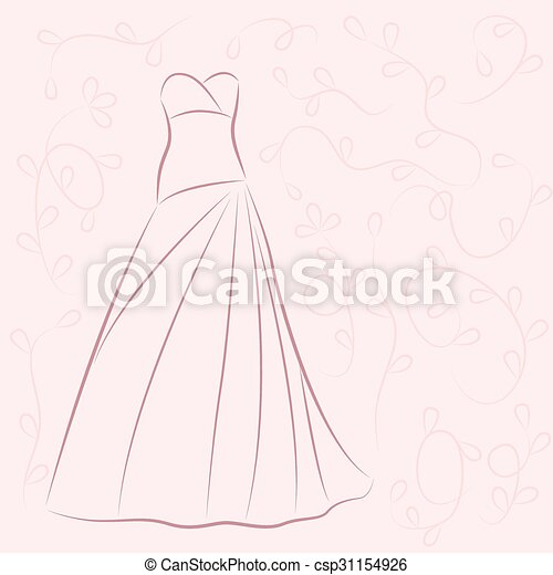 Wedding dress illustration. Invitation decorated with... vector ...