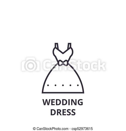 Wedding dress line icon, outline sign, linear symbol, vector, flat ...