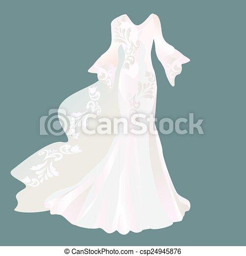 Wedding dress on a dark background. vectors illustration - Search ...