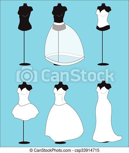 Dummy and wedding dresses, for wedding salon.