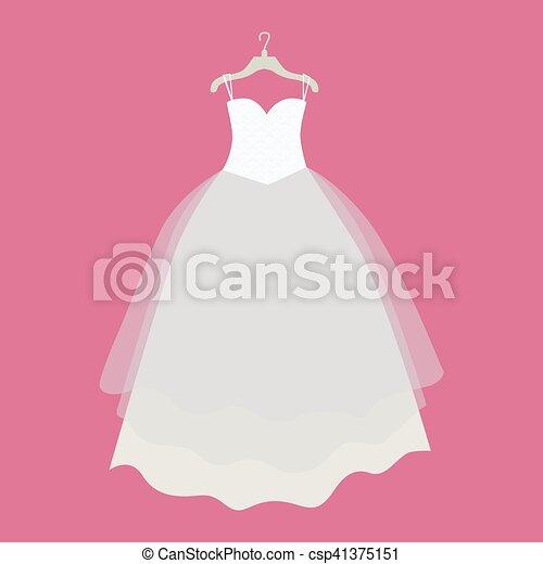 Wedding Dress Vector Illustration in Flat Design - csp41375151