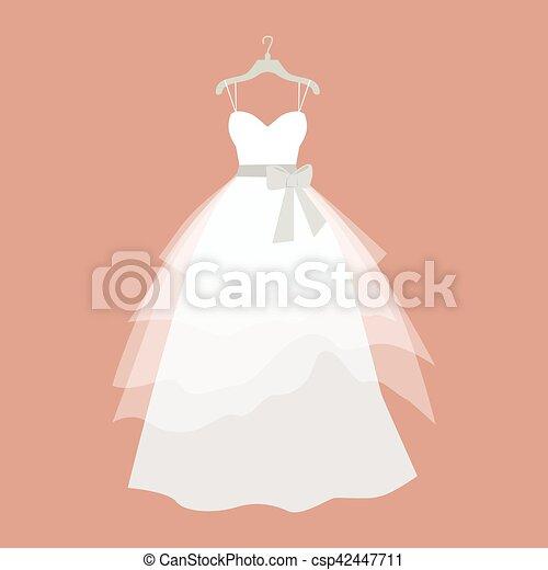 Wedding Dress Vector Illustration in Flat Design - csp42447711
