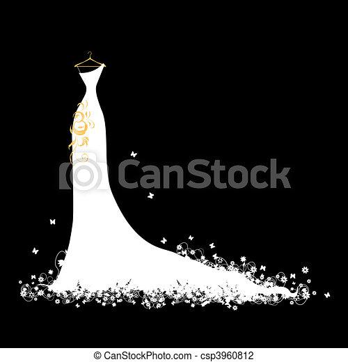 Wedding dress white on hangers - csp3960812