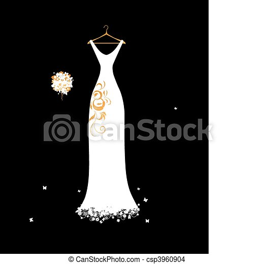 Wedding dress white on hangers with floral bouquet - csp3960904