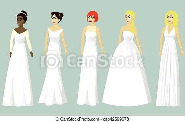 Wedding dresses of different styles vector illustration vectors ...