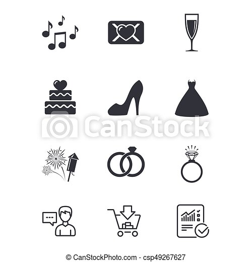 Wedding Engagement Icons Vow Love Letter Wedding Engagement