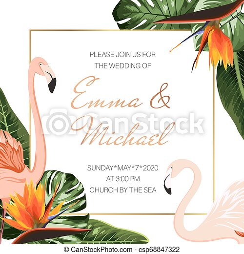 Wedding Event Invitation Card Template Tropical Monstera Philodendron Leaves Pink Flamingos Orange Strelitzia Flowers