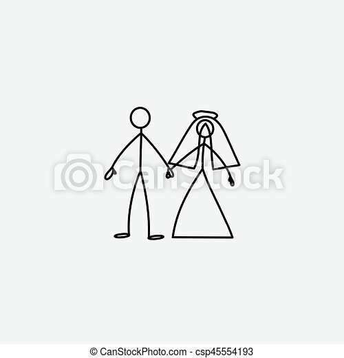 wedding family icon stick figure vector wedding happy family icon
