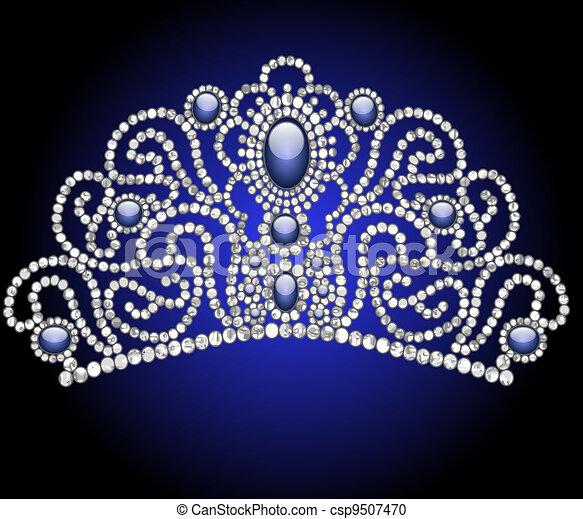 wedding feminine diadem with blue stone - csp9507470