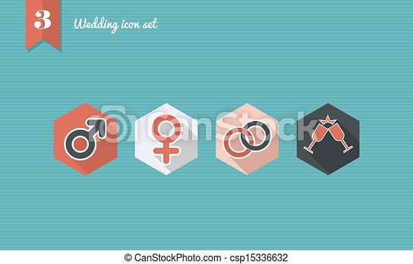 Wedding flat icon set. - csp15336632