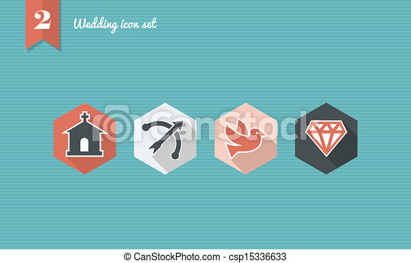 Wedding flat icon set. - csp15336633