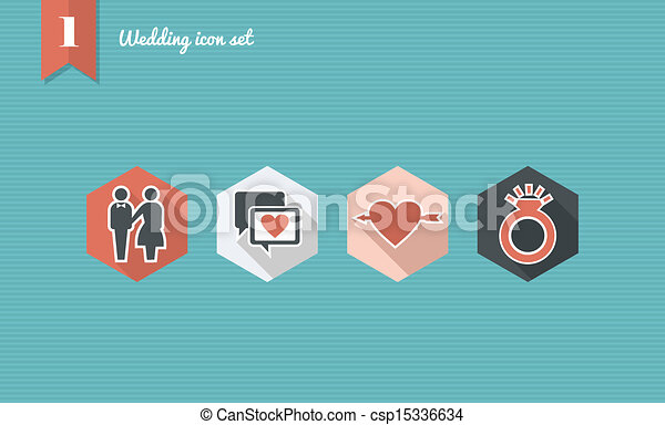 Wedding flat icon set. - csp15336634