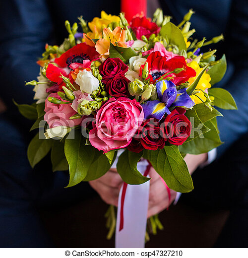 Wedding Flowers Groom Holds Bouquet Of White Blue Yellow Flowers