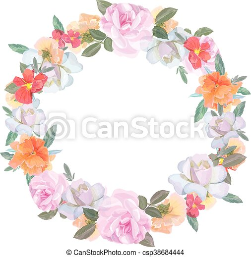 Wedding Flowers Vector Design Frame Rose Colorful Floral Objects