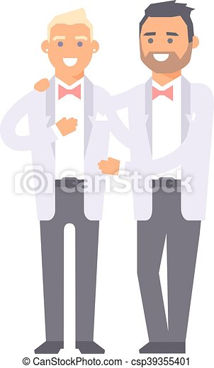 Happy gay couple in wedding attire and casual clothes You