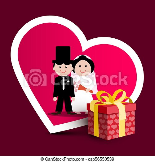 Wedding Greeting Card with Paper Gift Box with Hearts. Bride and Groom Vector Illustration. - csp56550539