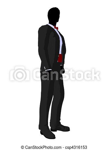 Wedding Groom in a Tuxedo Silhouette - csp4316153