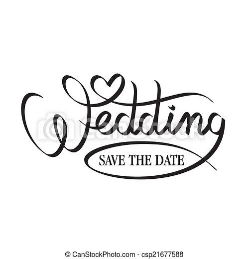 wedding hand lettering - csp21677588
