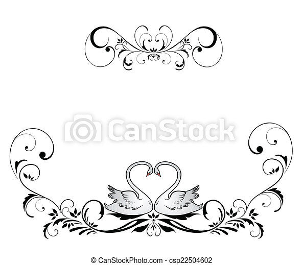 Wedding header with swans - csp22504602