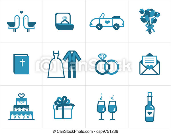 Wedding icon set for your products and projects, easy to edit, resize and colorize - csp9751236