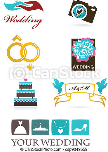 Wedding icons and graphic elements - csp9849559