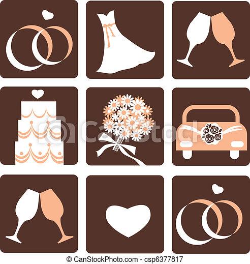 wedding icons - csp6377817