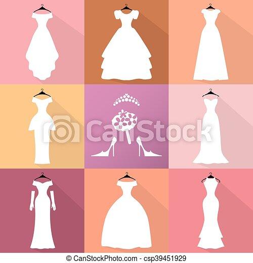3d366eeb0a6 Wedding icons.dresses silhouette set.fashion flat. Wedding dresses ...