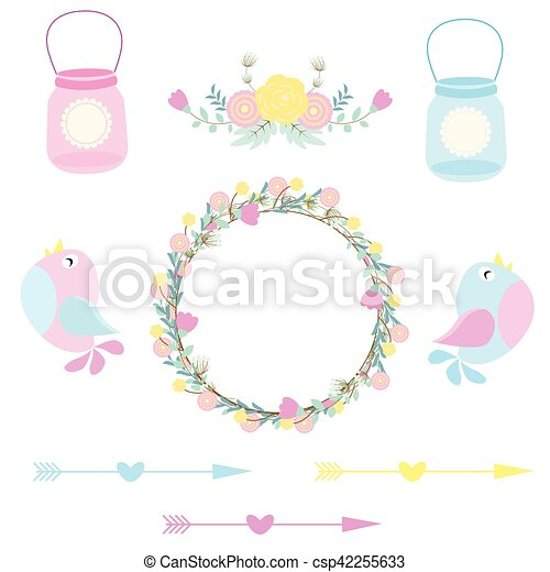 Wedding illustration with cute birds flowers and bottles vectors