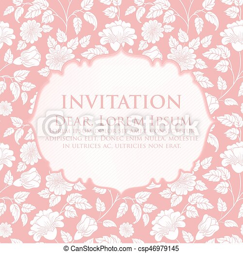 Wedding Invitation And Announcement Card With Floral Background Artwork Elegant Ornate Floral Background Floral Background And Elegant Flower