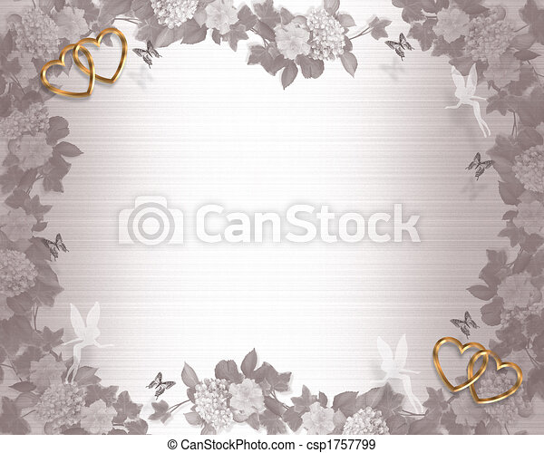 Wedding invitation background fairies Illustration embossed flowers