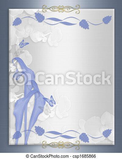 Wedding invitation Blue calla lily border - csp1685866