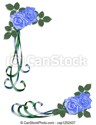Wedding invitation blue roses corne 3d illustrated blue stock wedding invitation blue roses corne csp1252437 stopboris Gallery