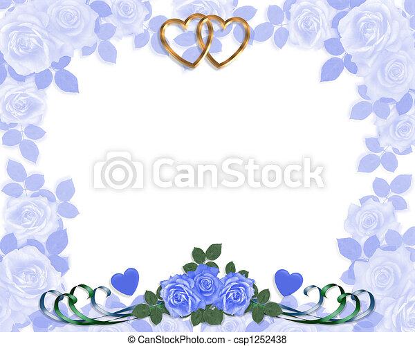 Wedding invitation Blue roses - csp1252438