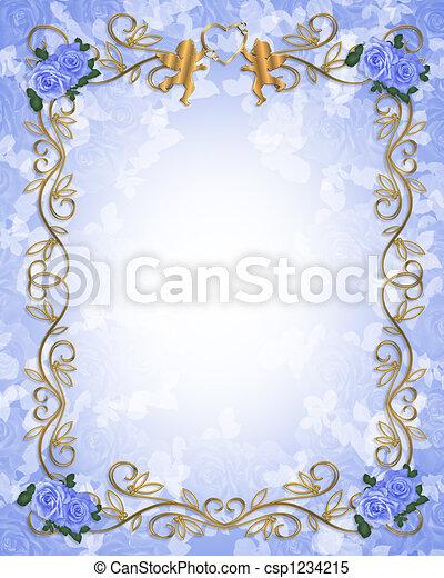 Wedding invitation Blue roses - csp1234215