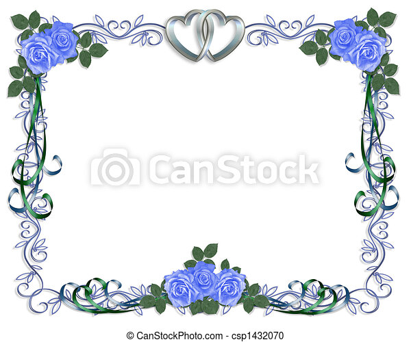 Wedding Invitation Border Blue Rose   Csp1432070