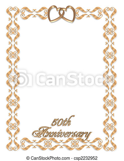 wedding invitation border gold 50th 3d scroll accents illustration