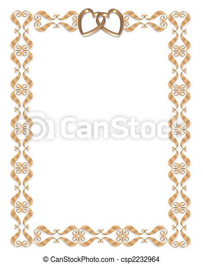 Wedding invitation border gold hearts - csp2232964