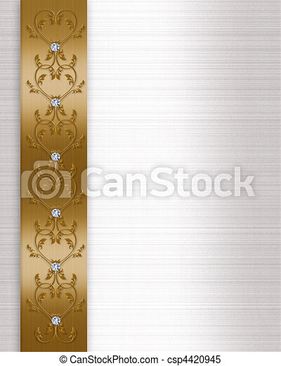Wedding invitation border gold image and illustration composition wedding invitation border gold csp4420945 stopboris Choice Image