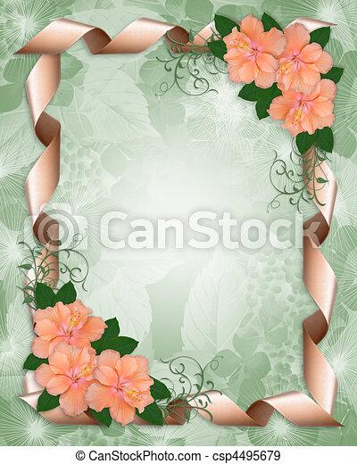 Wedding Invitation border hibiscus - csp4495679