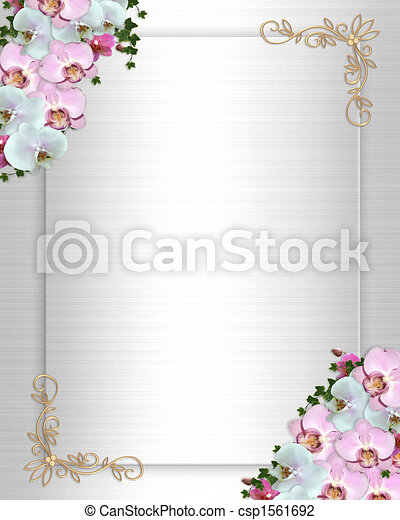 Wedding invitation Border orchids ivy - csp1561692