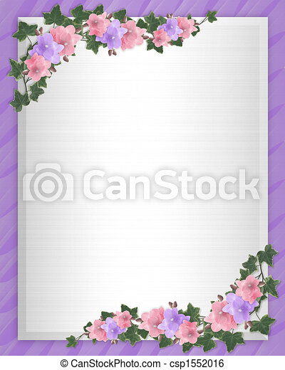 Wedding invitation Border orchids ivy - csp1552016