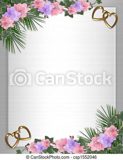 Wedding invitation Border orchids ivy - csp1552046