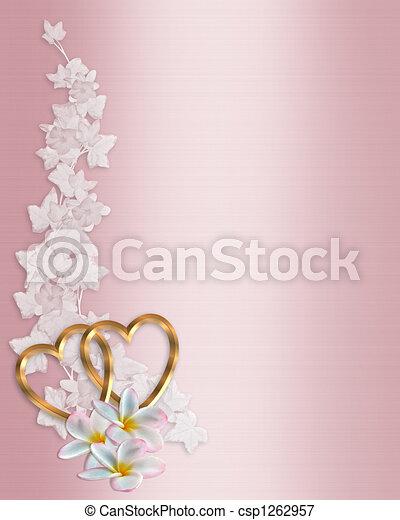 Wedding Invitation Border Pink  - csp1262957